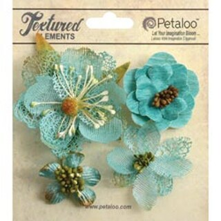"Teal - Mixed Textured Blossoms 1.25"" To 2.5"" 4/Pkg"