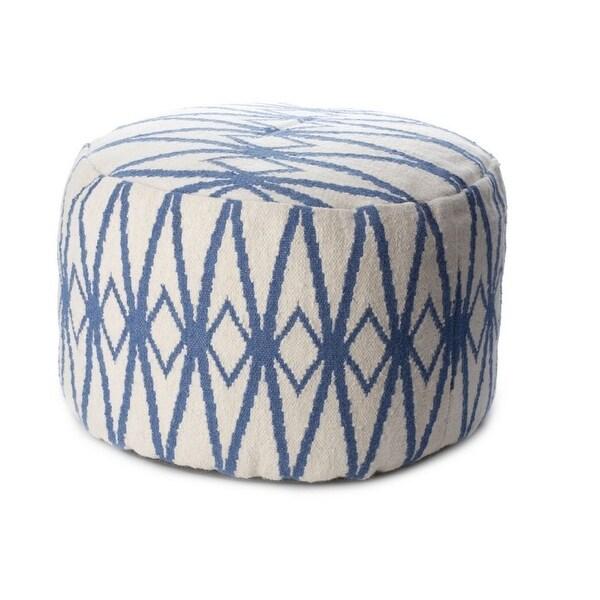 Vivai Home Blue Diamond Pattern Round 22x 16 Wool Cotton Ottoman Cushion