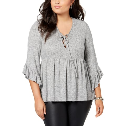 Soprano Womens Plus Pullover Sweater Lace-Up Bell Sleeve