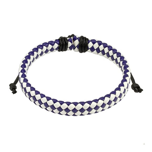 Blue and White Diagonal Checker Weaved Leather Bracelet with Drawstrings (9 mm) - 7.5 in