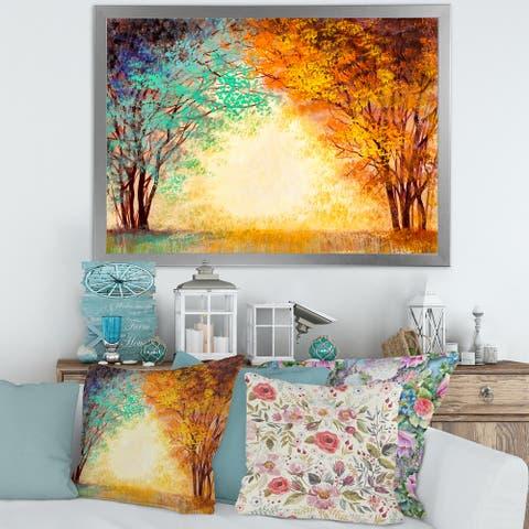 Designart 'Alley Through The Park In Autumn Sunset' Traditional Framed Art Print