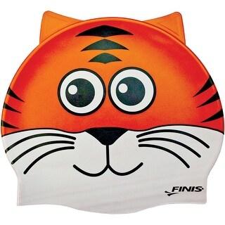 FINIS Youth Animal Head Silicone Swim Cap - Tiger Orange - One size
