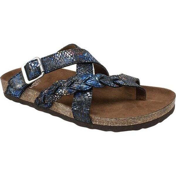 Shop White Mountain Women S Hansen Thong Sandal Black Blue
