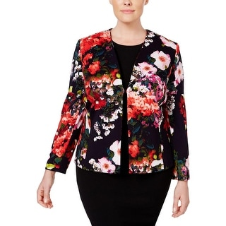 Tahari ASL Womens Plus Blazer Floral Open Front