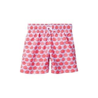 Azul Little Boys Pink Lotus Luck Flower Print Drawstring Swim Shorts