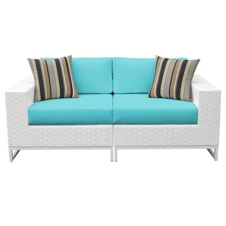 Florida 36 Inch Wide Aluminum Framed Outdoor Left and Right Armed Sofa - Set of 2