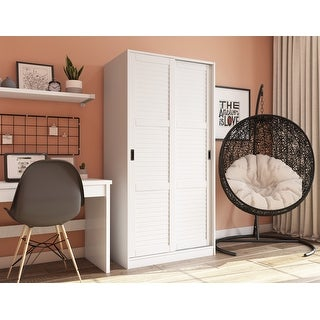 Link to Copper Grove Caddo Solid Wood Wardrobe with Two Sliding Doors Similar Items in Bedroom Furniture