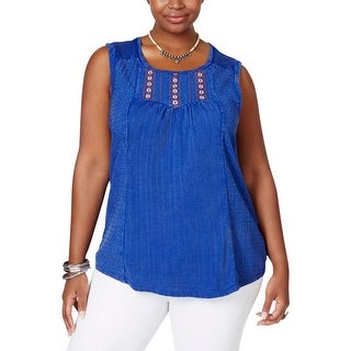 Lucky Brand Womens Plus Tank Top Eyelet Panel Embellished
