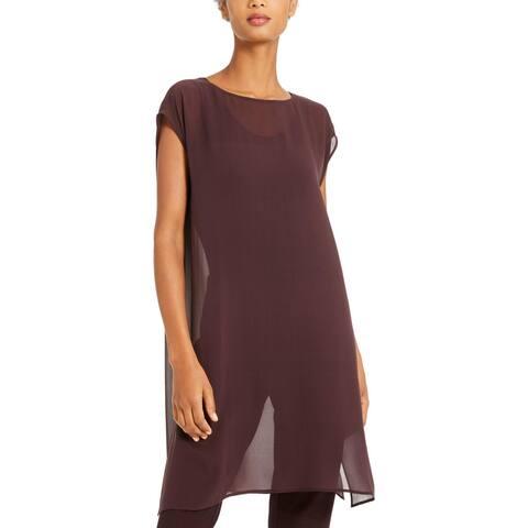 Eileen Fisher Womens Tunic Top Silk Spit Hem - Purple