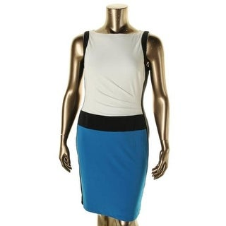 Lauren Ralph Lauren Womens Matte Jersey Colorblock Wear to Work Dress