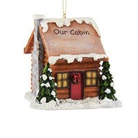 """Pack of 6 Woodland Log Cabin With LED Light Christmas Ornaments 3"""" - brown"""