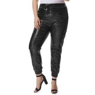 Allegra K Women's Plus Size Drawstring Waist PU Jogger Pants - Black