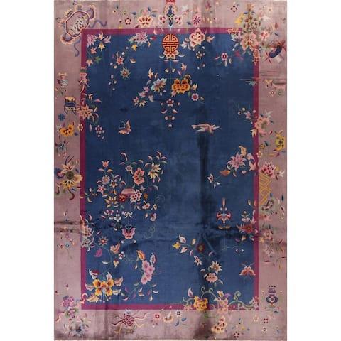 "Vegetable Dye Oriental Art Deco Nichols Chinese Wool Area Rug Handmade - 8'10"" x 11'5"""