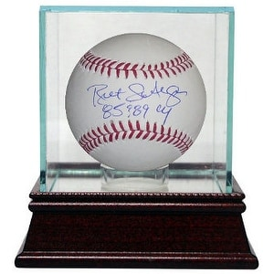 Bret Saberhagen signed Rawlings Official Major League Baseball 85 & 89 CY w/ Glass Case