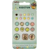 Scrapberry's Kids' Fun Epoxy Brads 21/Pkg-Solids & Baby Patterns