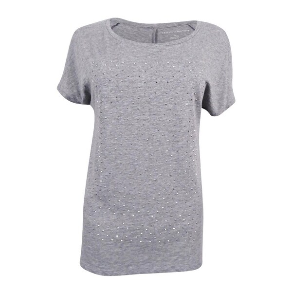 16050a77 Shop Tommy Hilfiger Women's Holly Embellished T-Shirt - Medium Grey Heather  - Free Shipping On Orders Over $45 - Overstock - 17795552