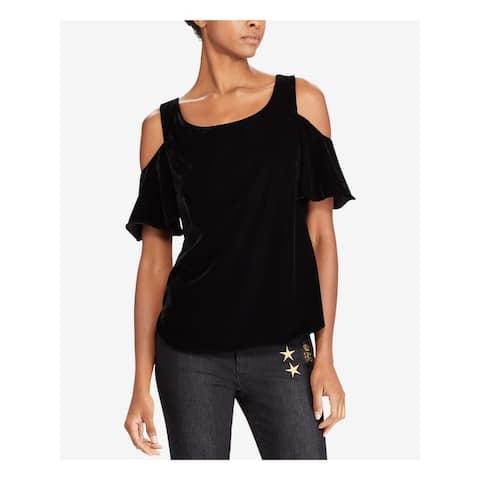 RALPH LAUREN Womens Black Short Sleeve Tunic Evening Top Size XL
