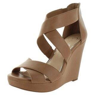 Jessica Simpson Womens Jadyn Leather Peep Toe Casual Platform Sandals