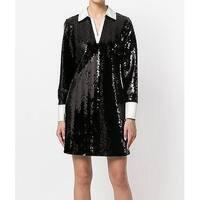 Tory Burch Womens V-Neck Sequin Shirt Shift Dress