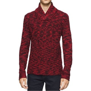 Calvin Klein NEW Red Mens Medium M Shawl Collar Cable Knit Sweater