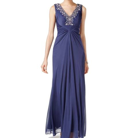 Alex Evenings Women's Dress Blue Size 8 Embellished Draped Gown