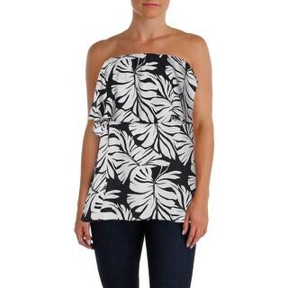 Aqua Womens Tube Top Ruffle Floral Print (Option: Black)