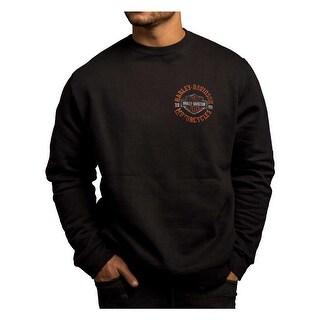Harley-Davidson Men's Strange Gear Crew Neck Pullover Fleece, Black 5T36-HC71
