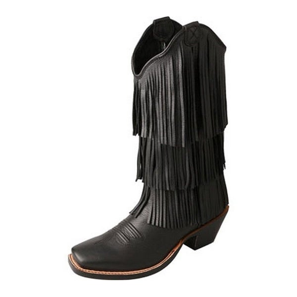 Twisted X Western Boot Women Steppin Out Fringe Black Deertan