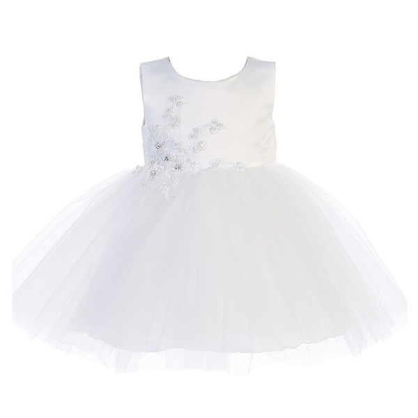 Baby Girls White Satin Embroidered Applique Tulle Flower Girl Dress