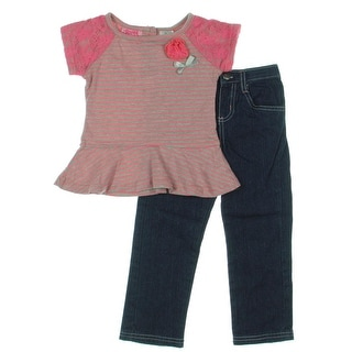 Young Hearts Jean Outfit Denim Baby Girl - 3t