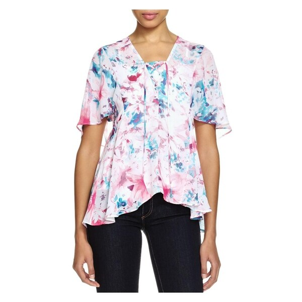 Status by Chenault Womens Blouse Lace-Up Floral Print