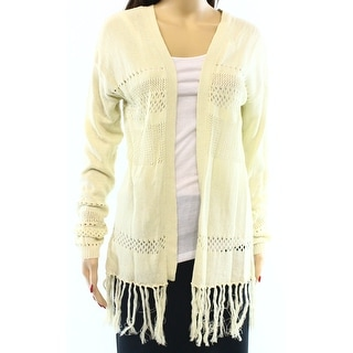 Wild Pearl NEW White Ivory Small S Juniors Fringe Cardigan Sweater DEAL