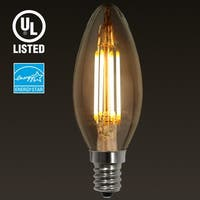 1/6 PACK Torchstar E12 LED Filament Vintage Light Bulb, Candelabra Base,4W 2700K Soft White,2 YEARS WARRANTY
