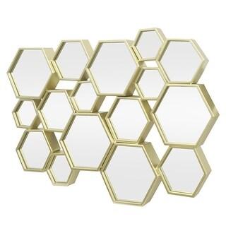 Three Hands Hexagon Cluster Decorative Metal Wall Mirror - - Gold