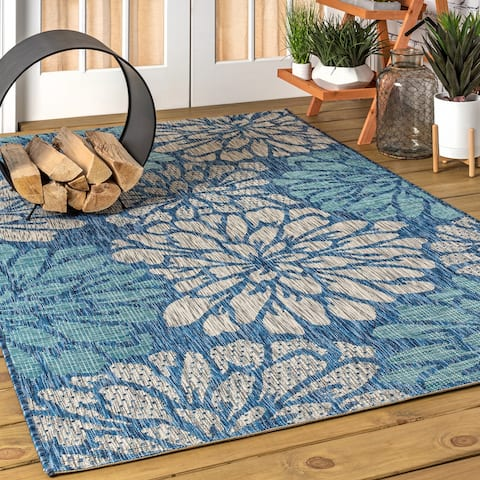 JONATHAN Y Zinnia Modern Floral Textured Weave Indoor/Outdoor Area Rug
