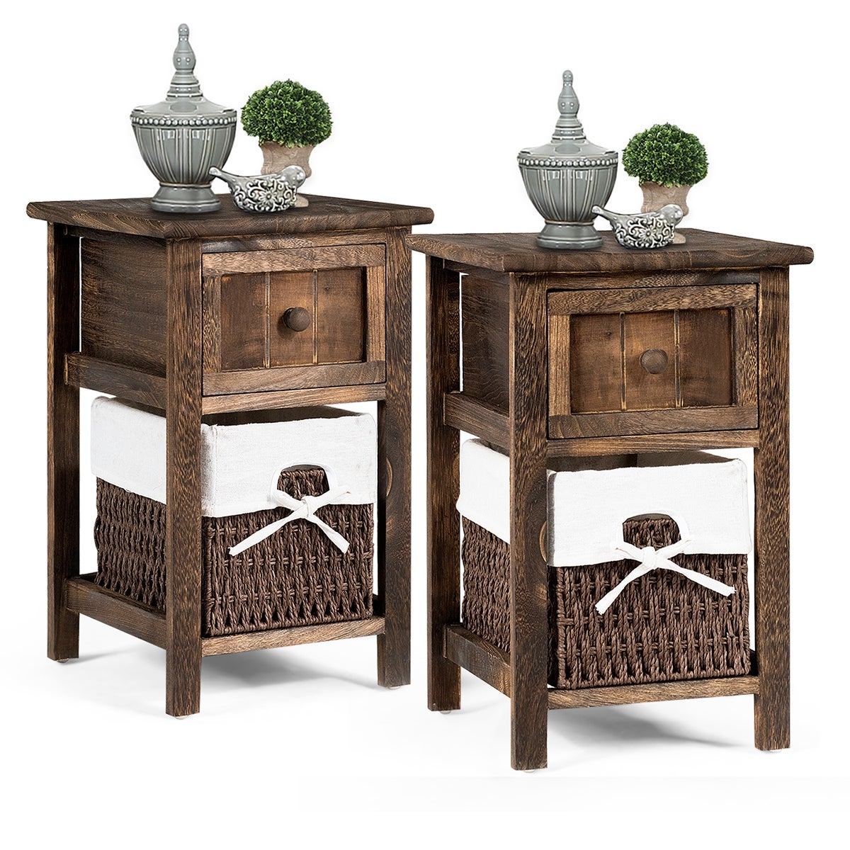 Gymax Vintage Nightstand Solid Wood Sofa Side End Table W// Usb Port /& Drawer