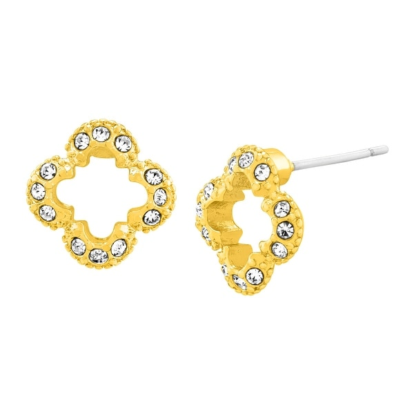 Marie Claire Clover Stud Earrings with Swarovski Elements Crystals in 18K Gold-Plated Stainless Steel
