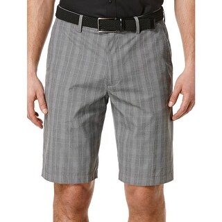 Perry Ellis Casual Flat Front Glen Plaid Shorts Dark Grey and Black 30