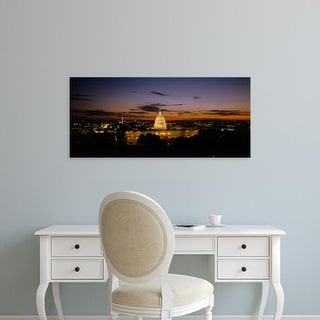 Easy Art Prints Panoramic Images's 'Government building lit up at night, US Capitol Building, Washington DC' Canvas Art