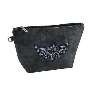 Faux Leather Embroidered Flying Owl Zipper Bag 6 X 6 1/2