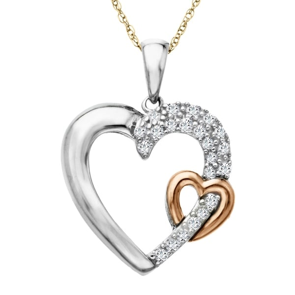 1/5 ct Diamond Double Heart Pendant in Sterling Silver & 14K Rose Gold