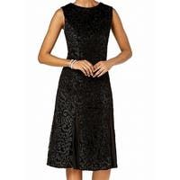 R&M Richards Black Womens Size 14 Embroidered Velvet Sheath Dress