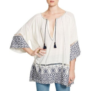 Free People Womens Pullover Top Embroidered Oversized
