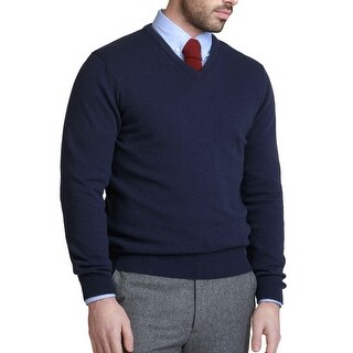 Bloomingdales Mens 2-Ply Cashmere V-Neck Sweater True Navy (3 options available)