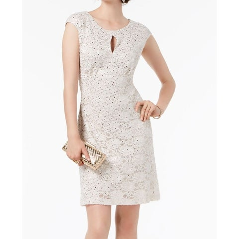 Connected Apparel White Womens Size 6 Floral Lace Sheath Dress