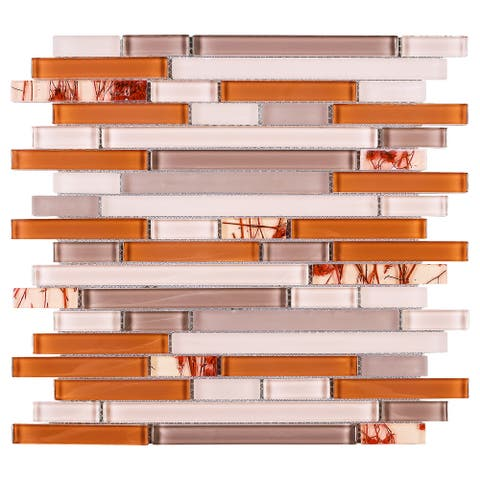 TileGen. Random Sized Glass Mosaic Tile in Orange/Pink Wall Tile (10 sheets/9.6sqft.)