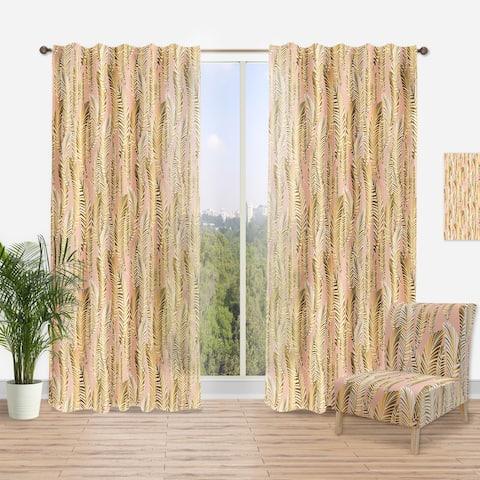 Designart 'Golden Palm Leaves I' Mid-CenturyCurtain Panel