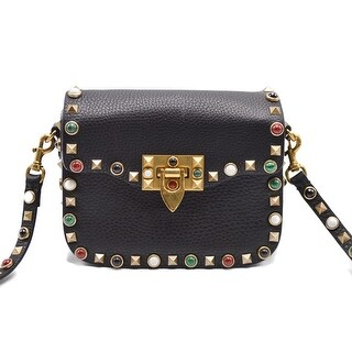 Valentino Womens Black Small 'Rockstud Rolling' Shoulder Bag