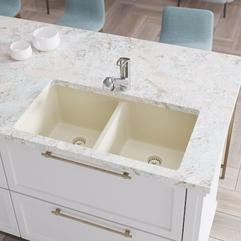 R3-1002 Equal Double Bowl Granite Quartz Kitchen Sink with Two Grids and Matching Colored Strainer and Flange