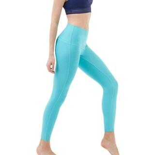 Tesla FYP41 Women's Mid-Waist Ultra-Stretch Yoga Pants - Solid Aqua